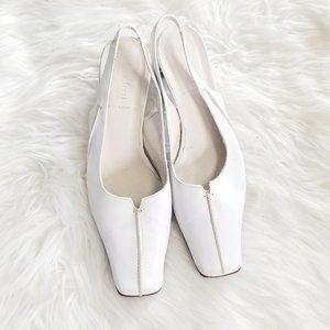 Luca Ferri | White Square Toe Sling Black Heels 38
